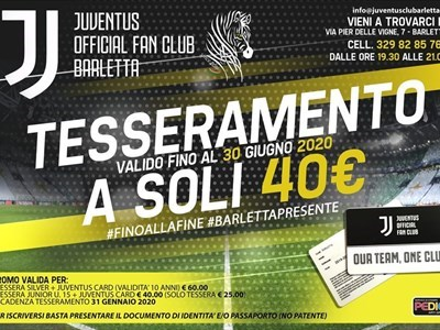 "Juventus Official Fan Club Barletta ""A. Del Piero"", al via il tesseramento"