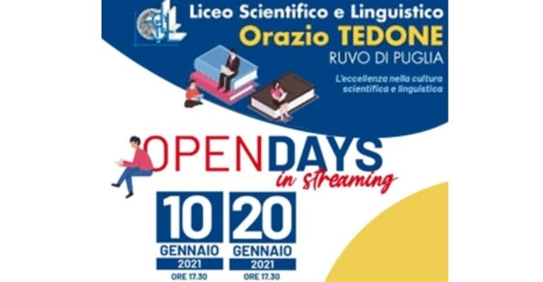 """In streaming l'Open Day del Liceo """"Tedone"""""""